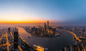 上海陆家嘴美丽日出全景摄影图片