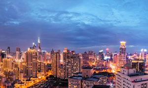 上海市区建筑群美丽夜景全景摄影图片