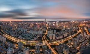 深圳市區建筑夜色全景攝影圖片
