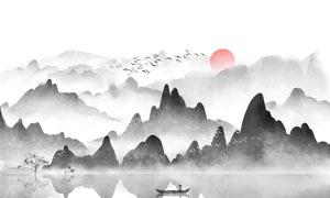 中国风水墨风景图设计PSD分层素材