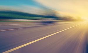 高速運動視角公路風光攝影高清圖片