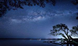 夜空繁星點點自然風光攝影高清圖片