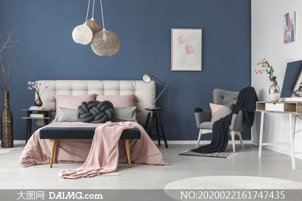 干枝花饰与沙发毯子等摄影高清图片