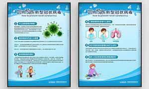 醫院預防新型冠狀病毒制度展板PSD素材