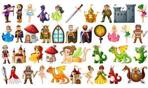 童話故事人物卡通創意矢量素材集V01