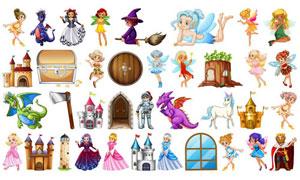 童话故事人物卡通创意矢量素材集V02