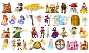 童话故事人物卡通创意矢量素材集V03
