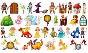 童话故事人物卡通创意矢量素材集V04