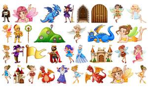 童話故事人物卡通創意矢量素材集V05