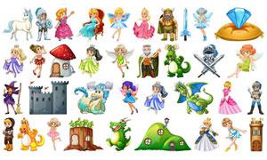 童话故事人物卡通创意矢量素材集V06