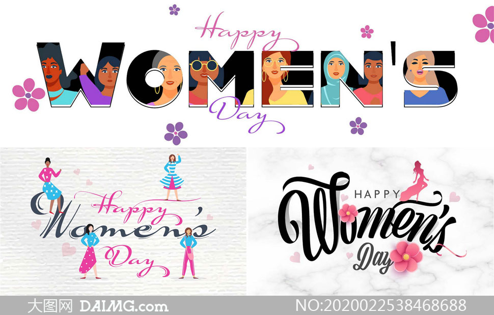 花朵与人物插画创意妇女节矢量素材