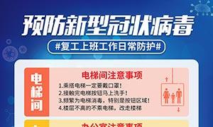 预防新型冠状病毒复工日常防护海报PSD素材