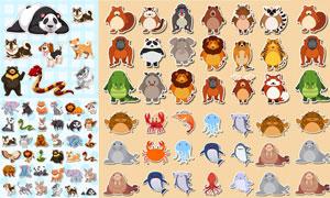 狮子与熊猫等动物贴纸主题矢量素材
