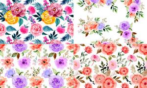 水彩風格無縫平鋪花朵背景矢量素材