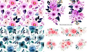 水彩玫瑰花朵圖案無縫拼接矢量素材