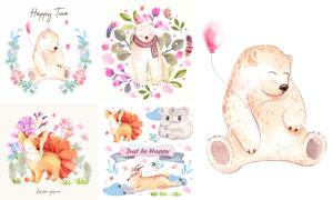 水彩创意狐狸熊等卡通动物矢量素材