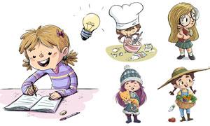 抱着蔬菜篮子的儿童等卡通矢量素材