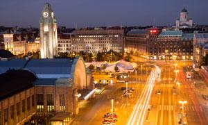鳥瞰視角赫爾辛基夜景攝影高清圖片