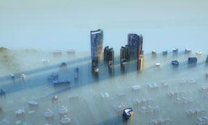 高空俯瞰城市建筑風光攝影高清圖片