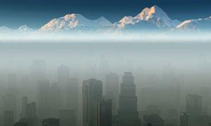 城市建筑物與雪山風光攝影高清圖片