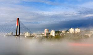 城市建筑群與橋梁風光攝影高清圖片