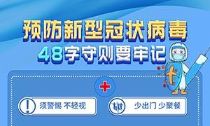 预防新型冠状病毒48字守则海报设计