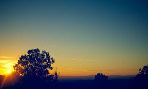 夕阳西下黄昏美景风光摄影高清图片