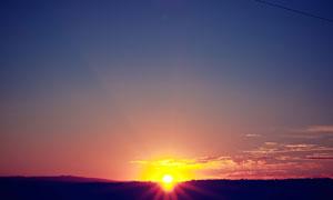 就快要落山的黄昏风光摄影高清图片