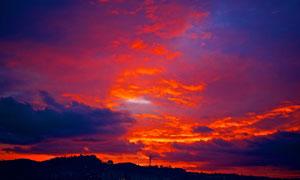 黄昏空中的火烧云景观摄影高清图片
