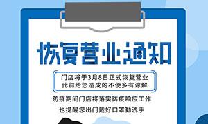 店铺恢复营业通知海报设计PSD素材