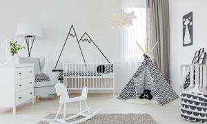 黑白幾何元素房間擺設展示高清圖片
