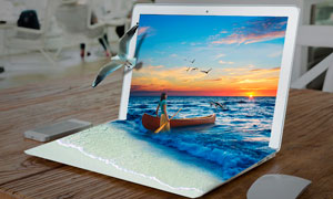 筆記本中沖出的海景效果PS教程素材
