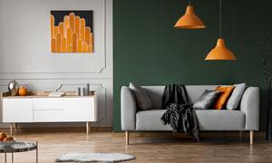 室內裝飾畫與吊燈沙發攝影高清圖片