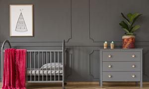 兒童床與抽屜柜裝飾畫攝影高清圖片