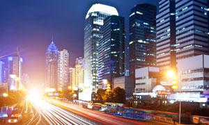 城市建筑物與繁華夜景攝影高清圖片
