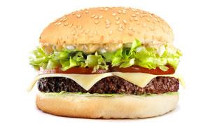 一个美味的汉堡包特写摄影高清图片