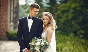 西裝男士婚紗美女人物攝影高清圖片