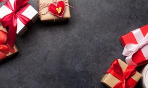 蝴蝶結裝飾禮物盒特寫攝影高清圖片