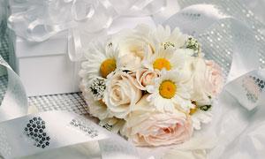 銀色絲帶與玫瑰菊花等攝影高清圖片