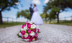 道路上的甜蜜戀人婚紗攝影高清圖片