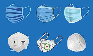 各種型號的口罩PSD素材