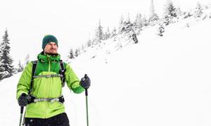 白雪風光滑雪運動人物攝影高清圖片