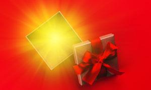 金光閃閃的禮物盒創意攝影高清圖片