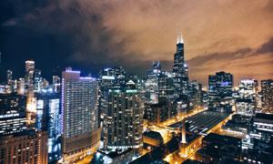 夜幕下的城市照明效果摄影高清图片