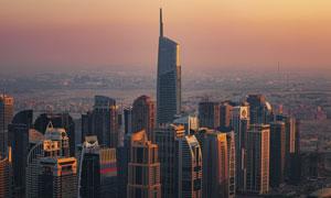 落日余暉黃昏城市風光攝影高清圖片
