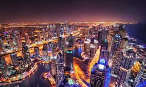 海邊城市高樓大廈鳥瞰攝影高清圖片