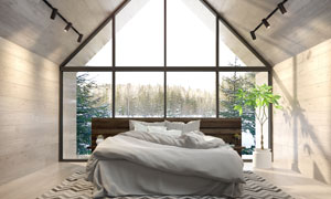 臥室房間雙人床與綠植擺設高清圖片