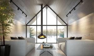 房間燈光下的家具擺設攝影高清圖片