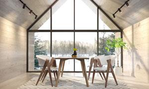 落地窗房間的桌椅家具攝影高清圖片