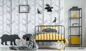 房間置物架與鐵藝床等布置高清圖片